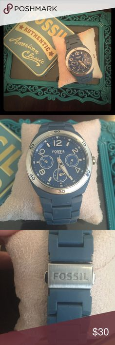 """Gently used Fossil Watch Blue and silver. Just replaced the battery! I do not have the additional links. It fits me perfectly and my wrist is about 6.5"""". LMK if you have any questions! Fossil Accessories Watches"""