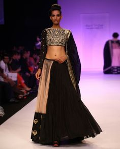 PAYAL SINGHAL & Blush Lengha Set with Heavily Embroidered Blouse