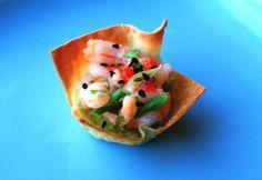 Butter + Cream: Wonton Cups with Shrimp Salad & Guacamole