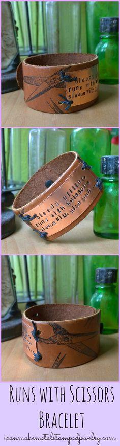 DIY Runs with Scissors Bracelet tutorial featuring Mark Montano's new Vintage Scissors stamps!