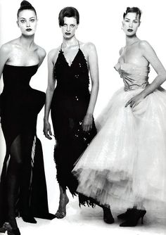 Shalom, Kristen and Meghan by Steven Meisel for American Vogue, January 1995. Clothing by John Galliano.