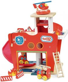 Wooden Fire Station - 10 pieces Orange Vilac Toys and Hobbies Retro Kids, Fire Hose, Nursing Pillow, Wood Sizes, Made Of Wood, Fire Trucks, Sliding Doors, Wooden Toys, Hobbies