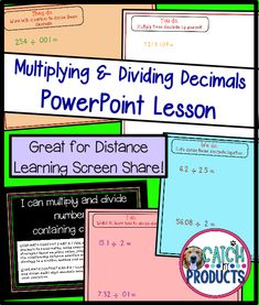 Teach math problem solving activities to 5th grade elementary or 6th middle school student on virtual multiplying and dividing decimals through PowerPoint screen share for kids. Great distance learning, home school, classroom or digital instruction. Curriculum