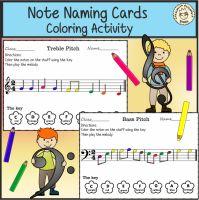 Note Naming Cards Coloring Activity from Anastasiya Multimedia Studio