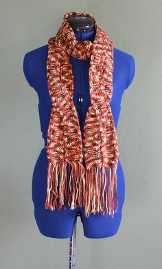 Red orange multi color cable knit scarf with fringe, specialty knit, great christmas present