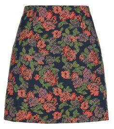 Navy Rose Tapestry A-Line Mini Skirt