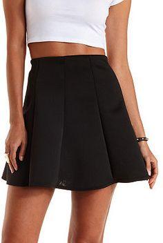 $15, Black Skater Skirt: Charlotte Russe Paneled Scuba Knit Skater Skirt. Sold by Charlotte Russe. Click for more info: https://lookastic.com/women/shop_items/214904/redirect