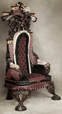 Hand-Carved Rosewood Inlaid Throne by Gallivan's Art Furniture