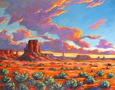 Monument Valley Sunset Painting by Patty Baker at ArtistRising.com