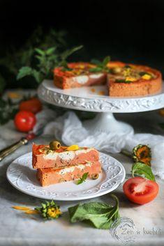 Doskonała przekąska na zimno. Tarta z pomidorami i serem ricotta bez kruchego spodu. Jest mniej kaloryczna od tradycyjnej tarty.