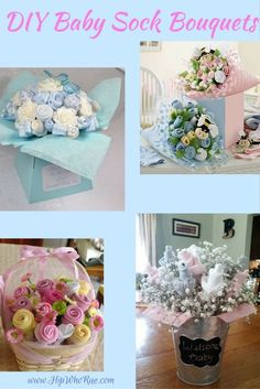 Baby Shower Gift: Easy DIY Baby Sock Flower Bouquets which look amazing and your friends will love them Baby Shower Bouquet, Baby Sock Bouquet, Diaper Bouquet, Baby Shower Flowers, Diaper Wreath, Regalo Baby Shower, Baby Shower Crafts, Baby Boy Shower, Baby Shower Gifts For Boys