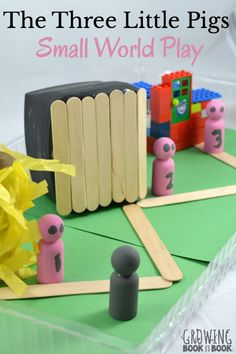 A fun literacy activity that involves small world play for the story, The Three Little Pigs. The kids can even help create the activity.