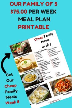 Cheap Family Meals Week 8 Cheap Meal Plan