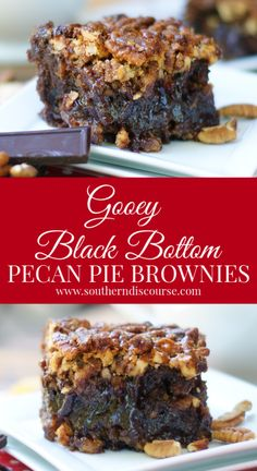 Gooey Black Bottom Pecan Pie Brownies - a southern discourse Rich and gooey, this wonderful dessert combines fudgey, dark chocolate brownies and traditional pecan pie in a decadent bite that chocolate lovers will swoon over. Pecan Desserts, Pecan Pies, Just Desserts, Pecan Pie Bars, Cookie Dough Cake, Chocolate Chip Cookie Dough, Chocolate Brownies, Cookie Bars, Brownie Recipes