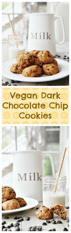 Vegan Dark Chocolate Chip Cookies! No eggs, no butter, no worries. Make them for the favorite people in your life. #vegan #dairyfree