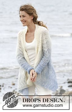"""Shades of Sky / DROPS - Knitted DROPS jacket worked in a square with wave pattern , worked top down in 1 strand """"Alpaca"""" and 2 strands """"Kid-Silk"""". Size S-XXXL. Pull Crochet, Crochet Jacket, Crochet Cardigan, Knitted Shawls, Knit Crochet, Knitting Patterns Free, Knit Patterns, Free Knitting, Free Pattern"""