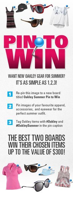 Get pinning with your favourite summer outfit to win fresh Oakley gear!  Need some inspiration fbe699e8afb