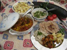 cuisine indienne végétarienne & ayurvédique: curry de légumes, pommes de terre, chapati