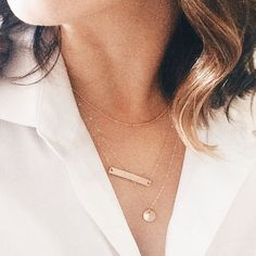 Satellite Chain, Personalized Bar + Petite Disc Layering Necklaces Set