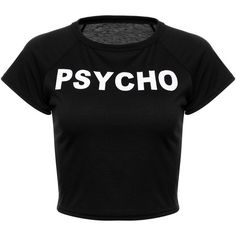 Psycho Cropped Tee Shirt Shop Elettra (305 CZK) ❤ liked on Polyvore featuring tops, t-shirts, crop top, shirts, crop tee, red tee, red t shirt, red top and cropped tops