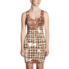 Brown Houndstooth Print - Fitted Dress - DogzPrinted