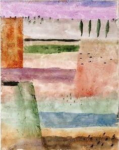 lavendar with the sienna, greens, earths.Paul Klee - Landscape with Poplars (Landschaft mit Pappeln), 226 Wassily Kandinsky, Paul Klee Art, August Macke, Famous Artists, Oeuvre D'art, Abstract Landscape, Les Oeuvres, Art History, Modern Art
