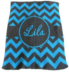 Chevron Stripes Design & Banner Personalized Stroller Blanket  (Color & size choices) :: For That Occasion