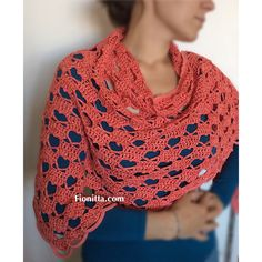 """Crochet shawl """"Hello March Shawl with hearts"""" or """"A Hearty Hello"""" (part Crochet Shawl Free, Crochet Shawls And Wraps, Crochet Tunic, Crochet Scarves, Crochet Yarn, Crochet Clothes, Shawl Patterns, Crochet Patterns, Crochet Ideas"""