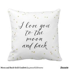 Moon and Back Gold Confetti Throw Pillows