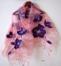 Nunofelted scarf  organza merino wool  pink and by Katrinmania, $35.00
