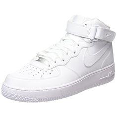 Nike Air Force 1 Mid 07 Leather, Damen Hohe Sneakers, Weiß (White/White), 41 EU…
