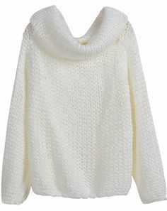 $36.62 awesome White High Neck Long Sleeve Knit Sweater