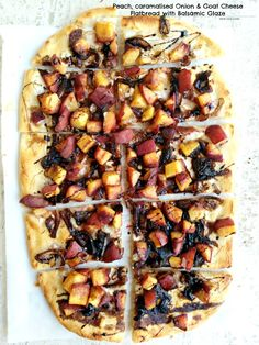 Peach Caramelised Onion and Goat Cheese Flat bread with Balsamic Glaze So so delicious and goes perfectly with a glass of chilled wine! Flatbread Recipes, Pizza Recipes, Side Dish Recipes, Vegetarian Recipes, Healthy Recipes, Goats Cheese Flatbread, Flatbread Pizza, Goat Cheese, French Bread Pizza