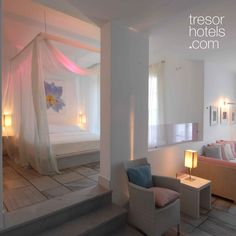 Trésor Hotels and Resorts_Luxury Boutique Hotels_#Greece_ Families are gladly welcomed at #Ios #Palace #Hotel & #Spa. This type of suite consists of two separate special bedroom areas which are interconnected. Live an unforgettable family experience and enjoy to maximum the living room and bathroom layout of the suite which accommodates families in the best possible way. Parents and children alike will love the balcony or veranda views to the blue of the #Aegean. Palace Hotel, Boutique Hotels, Bathroom Layout, Hotel Spa, Hotels And Resorts, Separate, Balcony, Bedroom Ideas, Ios