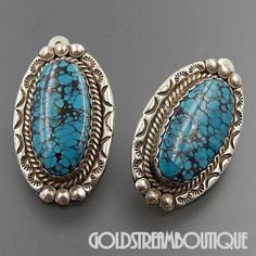 NAVAJO SIGNED NE STERLING SILVER OVAL SPIDERWEB TURQUOISE STAMPED CLIP EARRINGS