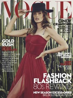 Cindy Crawford dressed in Christian Dior red dress lands Vogue Australia March 2017 cover. #fashion #magazine #editorial #vogue #cindycrawford #dior #fabfashionfix