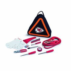 NFL Kansas City Chiefs Roadside Vehicle Emergency Kit by Picnic Time. $28.86. Durable polyester case with steel tools and digital print team logo. Carry case is triangle shaped and doubles as a road hazard reflective warning sign. Fits in the trunk of your car. NFL roadside auto emergency kit for peace of mind while on the road. Makes a great gift for virtually anyone. This NFL Roadside Emergency Kit will give you peace of mind knowing that you're prepared when an unexpected au...