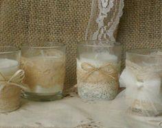 Vintage white lace wedding tea candles, Burlap wedding decor, 10 hour vintage wedding candless