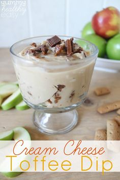 Light cream cheese and brown sugar mixed together plus a little bit of toffee bits makes this Cream Cheese Toffee Dip the ultimate apple dipping treat!