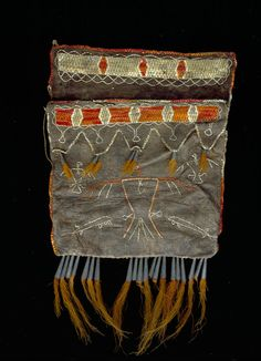 Shot pouch at Peabody Essex Museum, gift of Capt. Douglas, 1822, Chippewa/Ojibwa or Ottawa, 10.5 high 7 wide