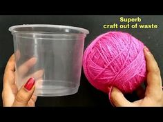 Hello friends,reuse disposable food containers or any waste empty box ,wool and shopping bag and make this beautiful craft and decorate your home. Easy Arts And Crafts, Arts And Crafts House, Crafts To Make And Sell, Crafts For Girls, Easy Diy Crafts, Fun Craft, Craft Work, Mason Jar Crafts, Wine Bottle Crafts