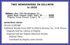 THE JAMES RIVER CLARION was one of two newspapers published in Buckingham County's town of Dillwyn  in the early 1900s.