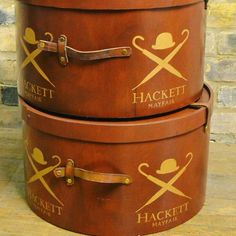 Hackett Hat Boxes from D and A Binder I We have these gorgeous brown hat boxes for sale, perfect for display, storage, and decoration! Call us or email us at david@dandabinder.co.uk for more details.