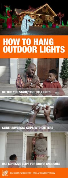 Hanging outdoor lights this holiday season is easier with this digital workshop. From rooflines to doors and columns, there are several easy, no-damage install tips to turn your home into a festival of lights! No matter what your style or decorating preference, hanging outdoor Christmas lights is a great way to celebrate the holiday season and be the envy of the neighborhood.