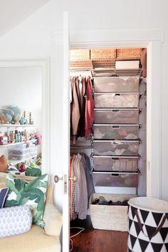 closet organization, bins