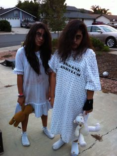 Asylum patients, scary girls, halloween, DIY costumes