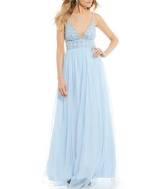 81a0b6c4bf Xtraordinary Spaghetti Strap Beaded Bodice Ball Gown  Dillards Prom Dresses  Blue