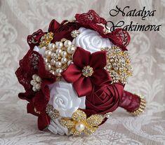 Broch Bouquet, Gold Bouquet, Fabric Bouquet, Wedding Brooch Bouquets, White Wedding Bouquets, Corsage Wedding, Bride Bouquets, Flower Bouquet Wedding, Floral Wedding