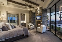 Contemporary Guest Bedroom with Restoration Hardware Stonewashed Belgian Linen Bedding Collection, Exposed beam, Carpet