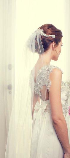 Bridal Wedding Beaded Crystal Headpiece Headdress Back for Veil